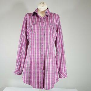 WOOLRICH Womens Purple Plaid  Western Shirt